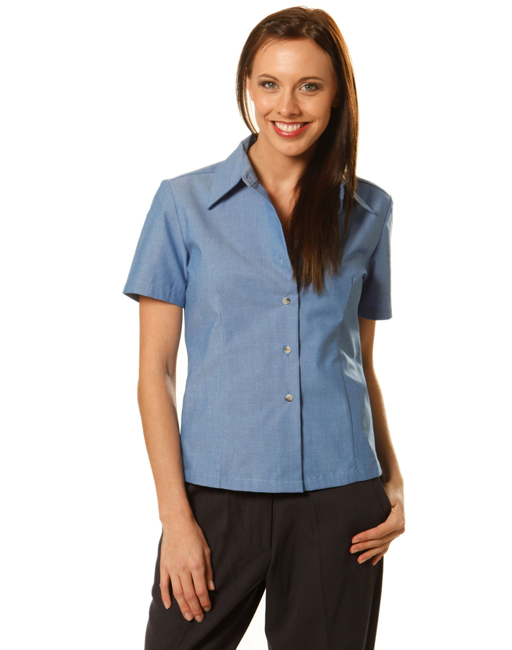 Women 39 s wrinkle free short sleeve chambray shirt bs05 for Chambray shirt women