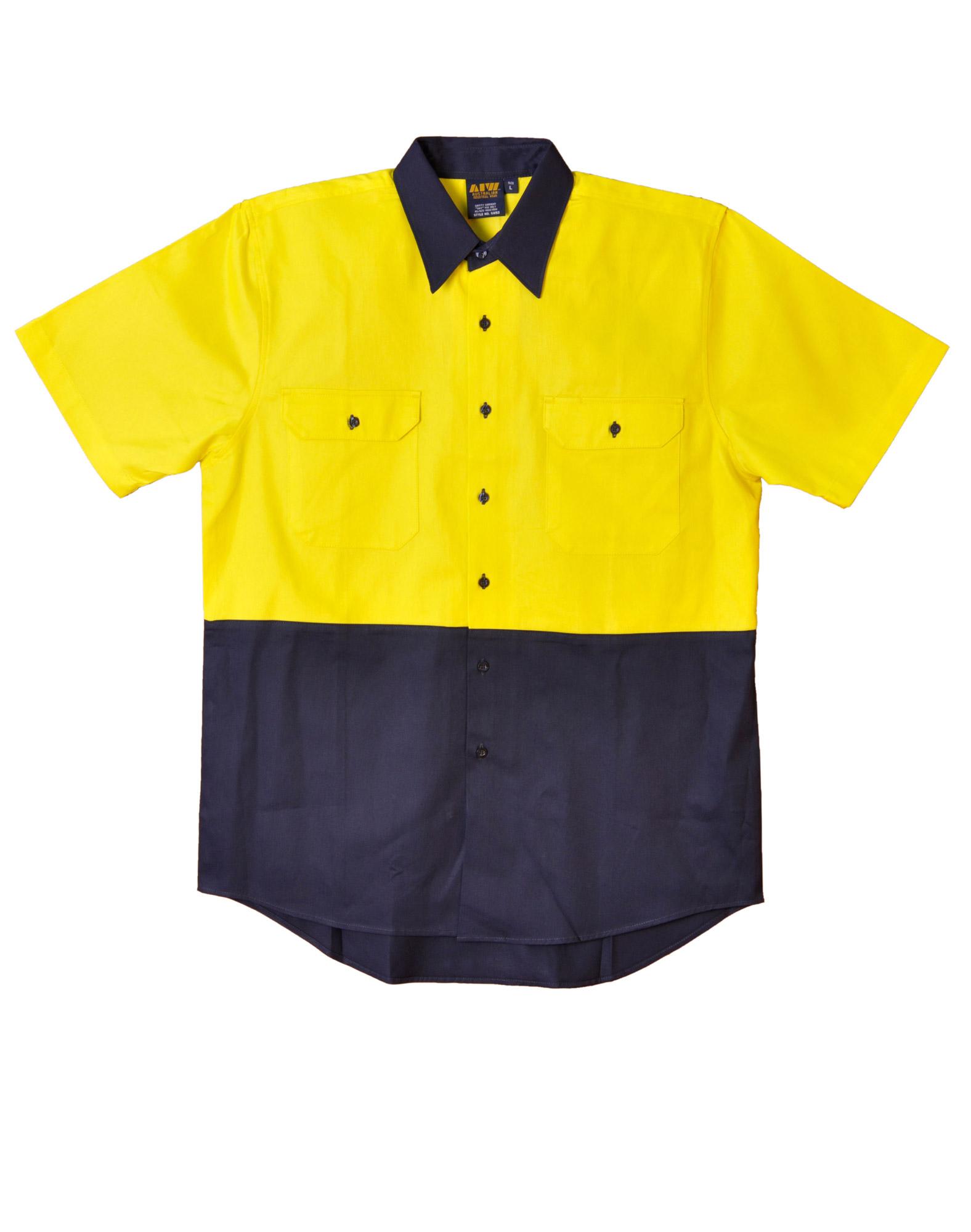 Hi vis cotton drill short sleeve safety shirt sw53 for Hi vis t shirts cotton
