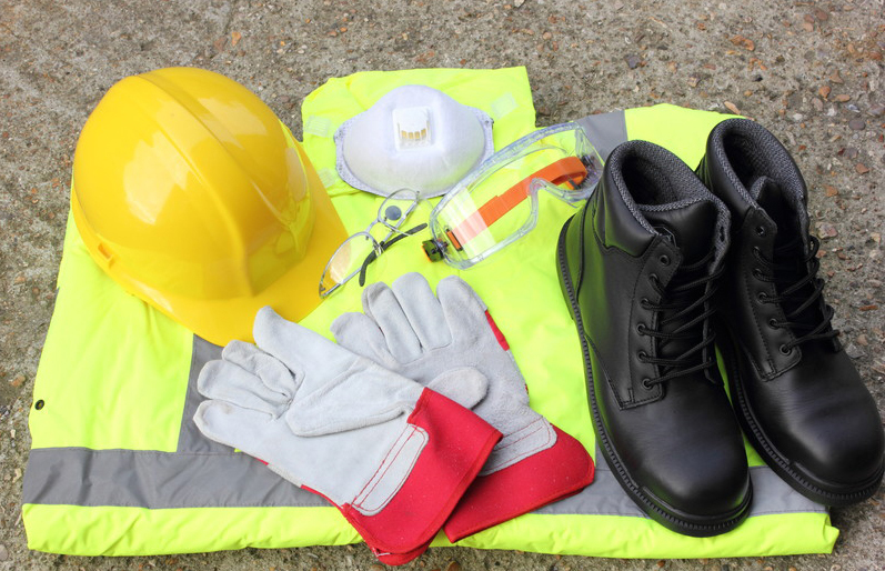Personal Protective Equipment hats safety boots safety goggles breathing mask and vest